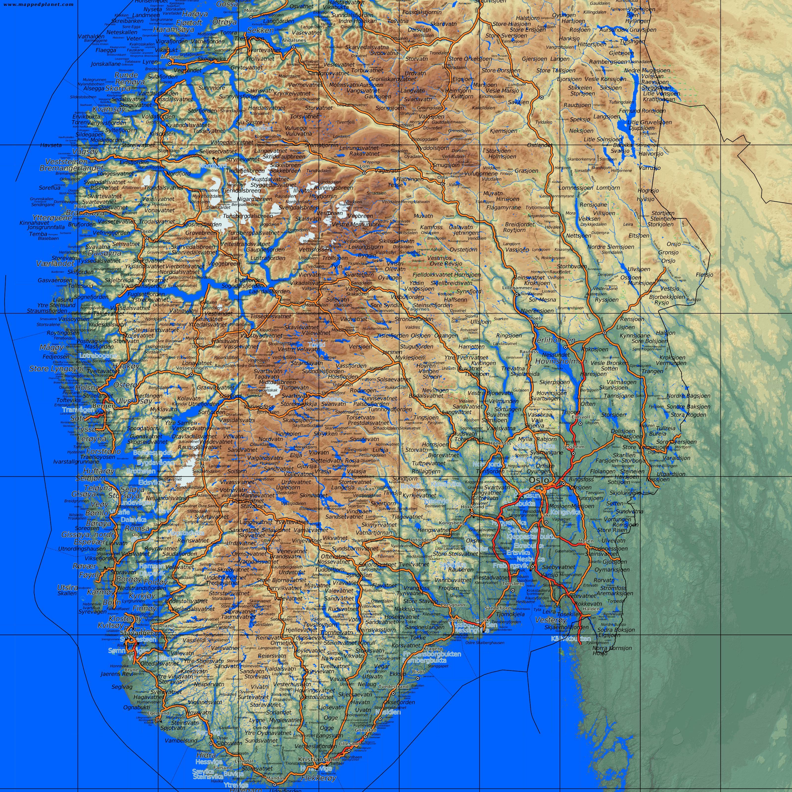 Kort Over Det Sydlige Norge Detaljeret Kort Over Det Sydlige