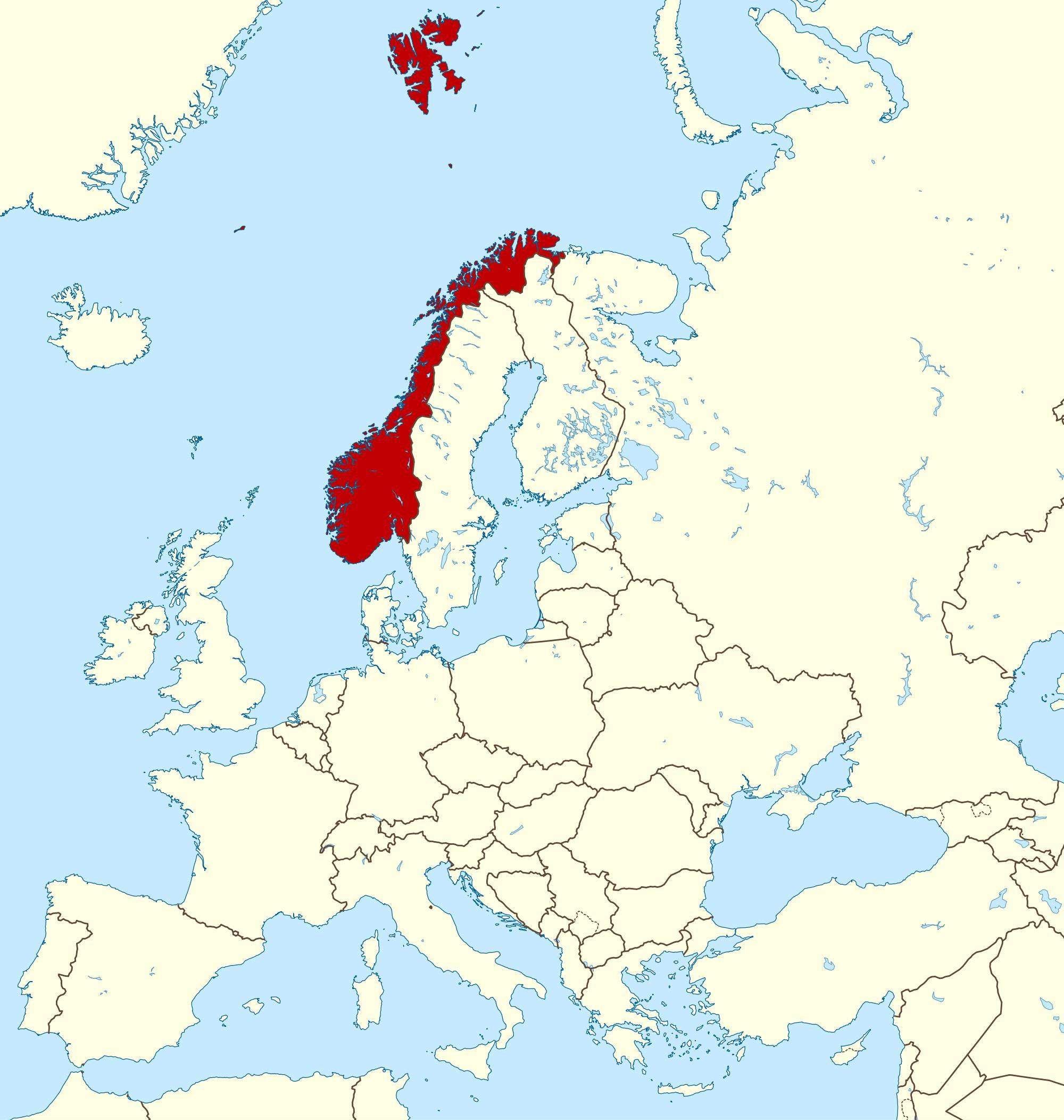 Norge Kort Europa Kort I Sverige Norge Og Europa I Det