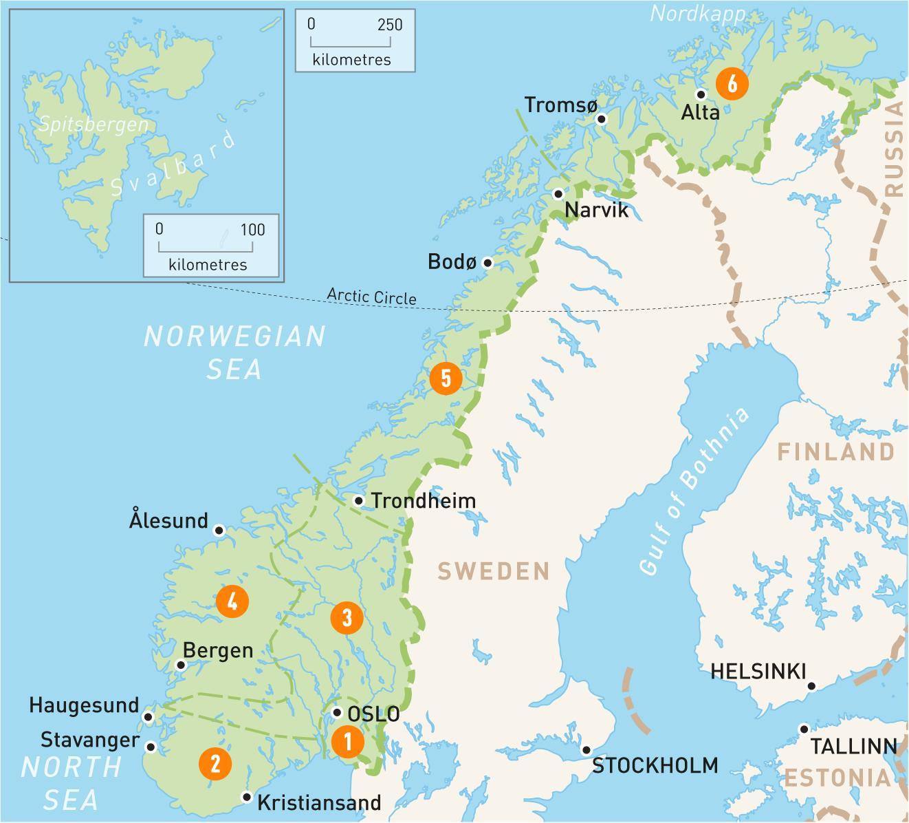 Norge Regioner Kort Kort Over Norge Regioner I Det Nordlige Europa