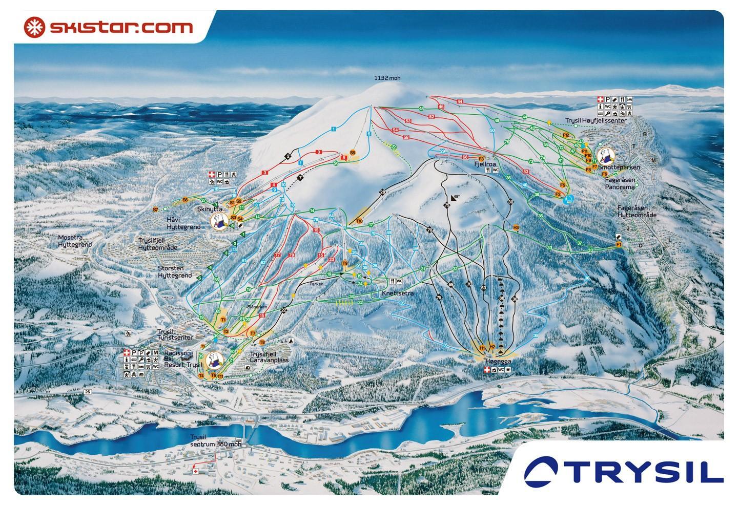 Norge Skisportssteder Kort Ski Norge Kort I Det Nordlige Europa