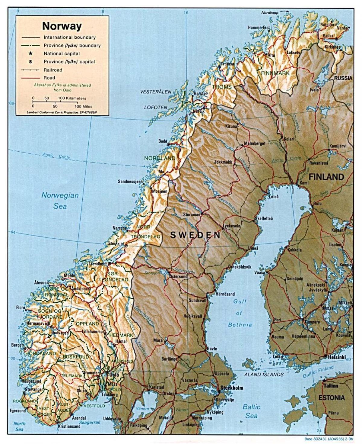 Kort Over Norge Med Byer Detaljeret Kort Over Norge Med Byer I