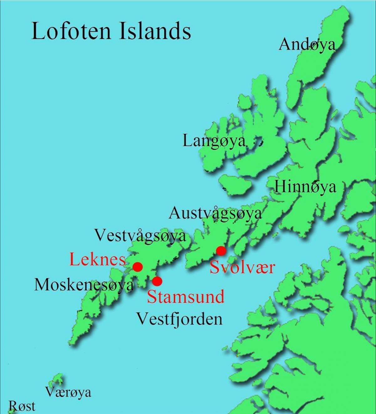 Lofoten I Norge Kort Lofoten Norge Kort I Det Nordlige Europa