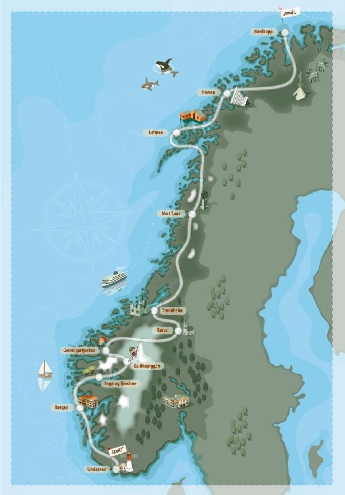 Norge Camping Kort Camping Norge Kort I Det Nordlige Europa