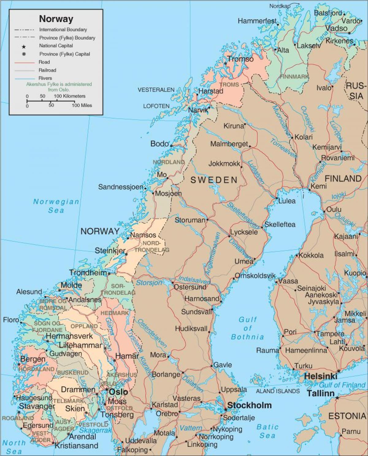 Norge Kort Et Kort Over Norge I Det Nordlige Europa