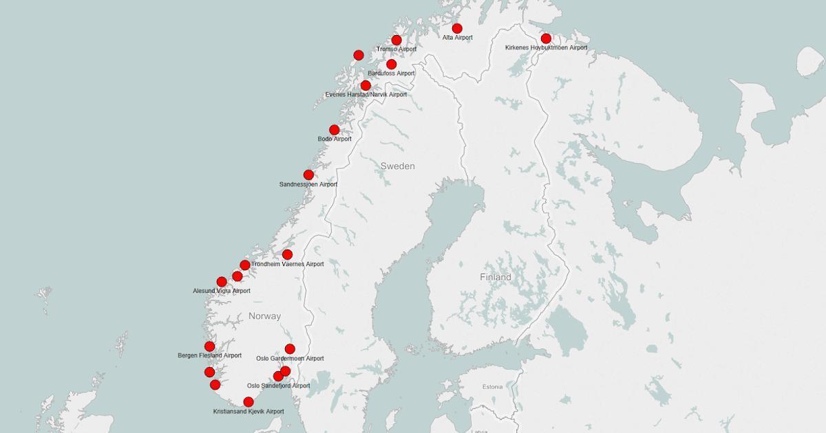 Norge Lufthavne Kort Kort Over Norge Lufthavne I Det Nordlige