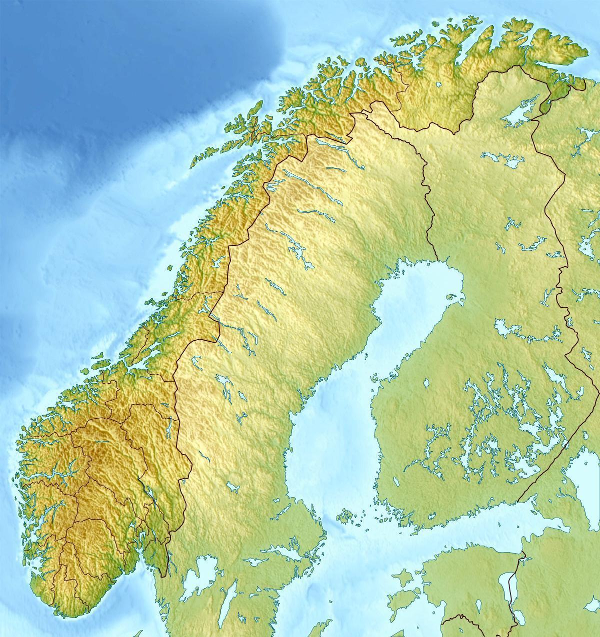 Norge Topografisk Kort Norge Topo Kort I Det Nordlige Europa