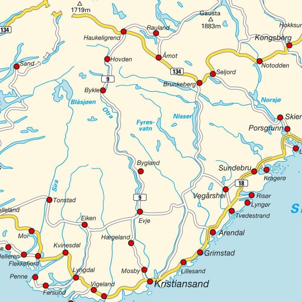 Syd Norge Kort Kort Over Det Sydlige Norge I Det Nordlige Europa