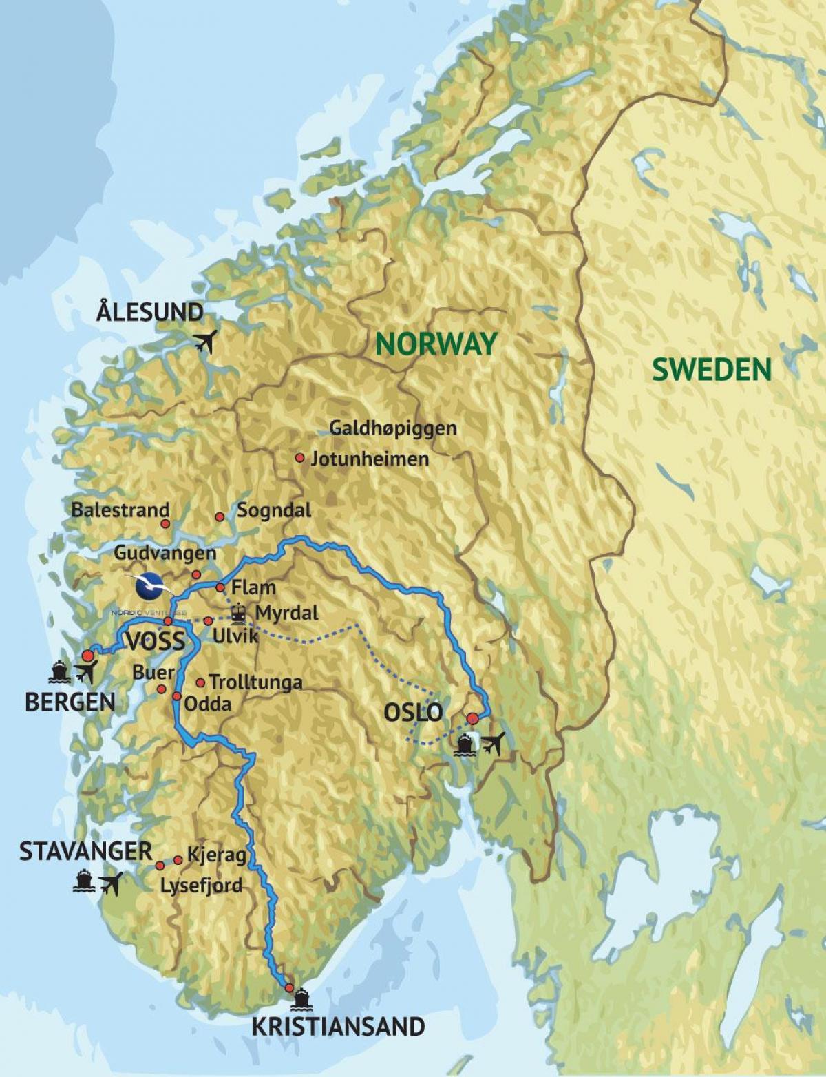 Syd Vest Norge Kort Kort Over Den Sydvestlige Norge I Det