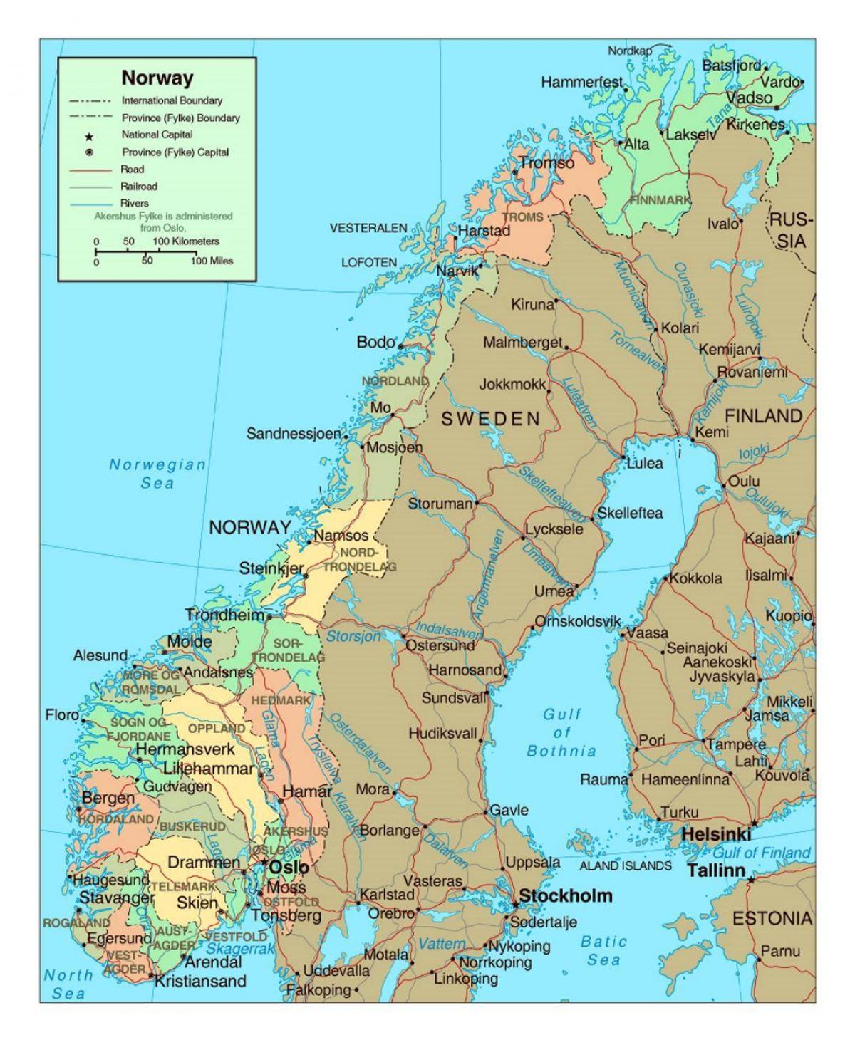 Vej Kort Over Norge Vejkort Over Norge Med Byer I Det Nordlige